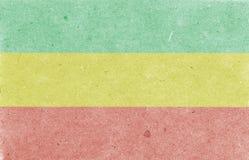Old paper background. Rastafarian horizontal flag, texture, raster illustration. Old paper background. Rastafarian flag, texture, raster illustration royalty free stock photos