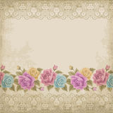 Old paper background with roses Royalty Free Stock Image