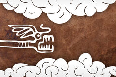 Old paper background with snake and clouds Stock Image