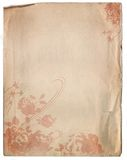 Old Paper Background Texture with a Floral Design Stock Photo