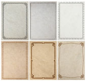 Old paper background texture with vintage frame border Stock Image