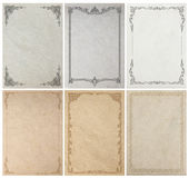 Old paper background texture with vintage frame border. Design Royalty Free Stock Image