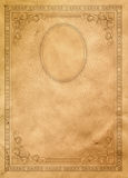 Old paper background with vintage border and frame. Stock Photo