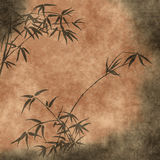 Old paper with bamboo branches stock illustration