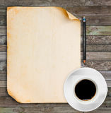 Old paper with black coffee Stock Photo