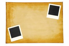 Old paper with blank photo frame Stock Photography