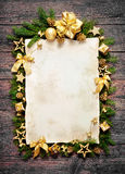 Old paper bordering with christmas decoration Royalty Free Stock Photos