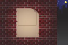 Old paper on brick wall vector Royalty Free Stock Photography