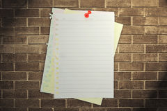 Old paper on brickwall Royalty Free Stock Photography
