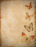 Old paper with butterflies Stock Images