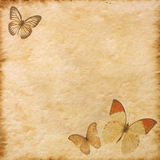 Old paper with butterflies Royalty Free Stock Image