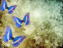 Old paper with butterfly. Raster artwork royalty free illustration