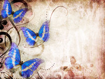 Old paper with butterfly. Raster artwork stock illustration