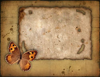 Old paper and the butterfly Royalty Free Stock Photos