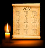 Old paper with calendar 2012. Vector. Illustration Vector Illustration