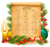 Old paper with calendar 2012. Vector. Illustration Royalty Free Stock Photos
