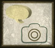 Old paper camera with Vintage photo frame. Old paper, ink camera with Vintage photo frame border and old large format camera. with pattern background and bubble vector illustration