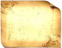 Old paper card, gold paper for writing, or background, illustration, scroll Stock Photo