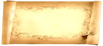 Old paper card, gold paper for writing, or background, illustration, scroll Royalty Free Stock Photo