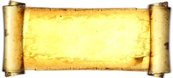 Old paper card, gold paper for writing, or background, illustration, scroll Stock Photography