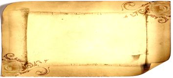 Old paper card, gold paper for writing, or background, illustration, scroll Royalty Free Stock Images