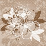 Old paper with cherry blossom. Old beige paper background with cherry blossom royalty free illustration