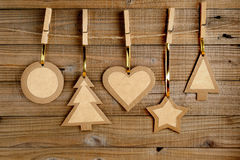 Old paper christmas decorations Stock Photos