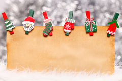 Old paper with Christmas ornaments Stock Image