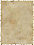 Old paper (with clipping path). Blank old paper with frayed edges (isolated and clipping path Stock Photography