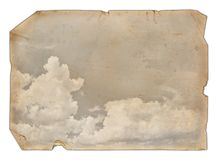 Old paper with a clouds. Isolated on white Stock Photos