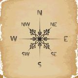 Old paper on compass. Background Royalty Free Stock Image