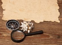 Old paper, compass and magnifying glass Royalty Free Stock Photos