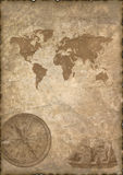 Old paper with compass and map. Royalty Free Stock Images