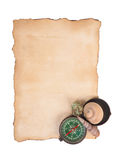 Old paper, compass and shells isolated on white background Stock Image