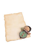 Old paper, compass and shells isolated on white background Royalty Free Stock Images