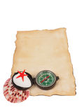 Old paper, compass and shells isolated on white background Stock Photo