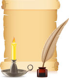 Old paper conflagrant candle and feather with inks Royalty Free Stock Photo