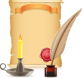 Old paper conflagrant candle and feather with inks Royalty Free Stock Photography