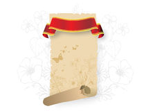 Parchment scroll with red ribbon. Illustration of beige parchment scroll (retro appearance) with blank red ribbon banner with a pale faint floral Stock Images