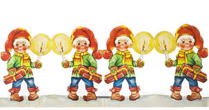 Old paper cut christmas gnomes. With candle Stock Photos