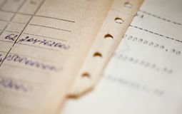 Old paper documents. Bookkeeping accountancy. Calculations. Hand-written and printed on the typewriter royalty free stock images