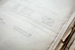 Old paper documents. Bookkeeping accountancy. Calculations. Numbers printed on matrix printer royalty free stock images