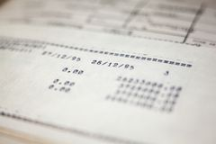 Old paper documents. Bookkeeping accountancy. Calculations. Printed on the typewriter stock images