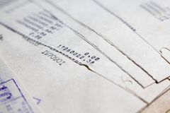 Old paper documents. Bookkeeping accountancy. Calculations. Printed on the typewriter royalty free stock image