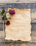 Old paper with dried rose on wooden Royalty Free Stock Photos