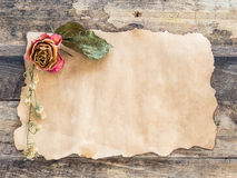 Old paper with dried rose on wooden Stock Image