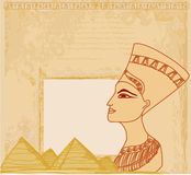 Old paper with Egyptian queen Stock Photography