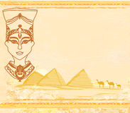 Old paper with Egyptian queen Stock Images