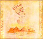 Old paper with Egyptian queen Royalty Free Stock Photos
