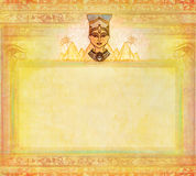 Old paper with Egyptian queen Stock Image
